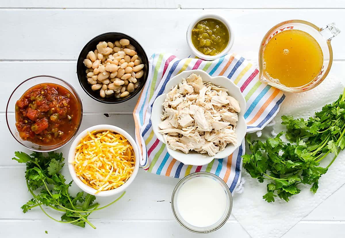 ingredients for crockpot white chicken chili, salsa, chicken white beans, green chilis, milk, chicken broth, cilantro