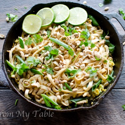 healthy vegetable pad thai with peanuts and cilantro