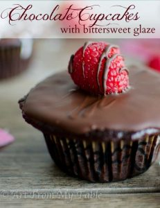 chocolate cupcakes with bittersweet glaze