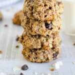 stack of breakfast cookies made with oatmeal, bananas, almond flour, coconut and chocolate chips