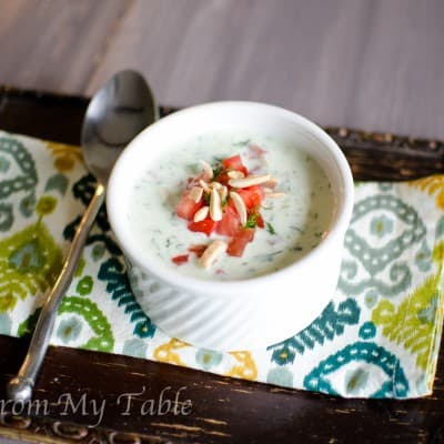 Cucumber Soup {with tomato & toasted Almonds}