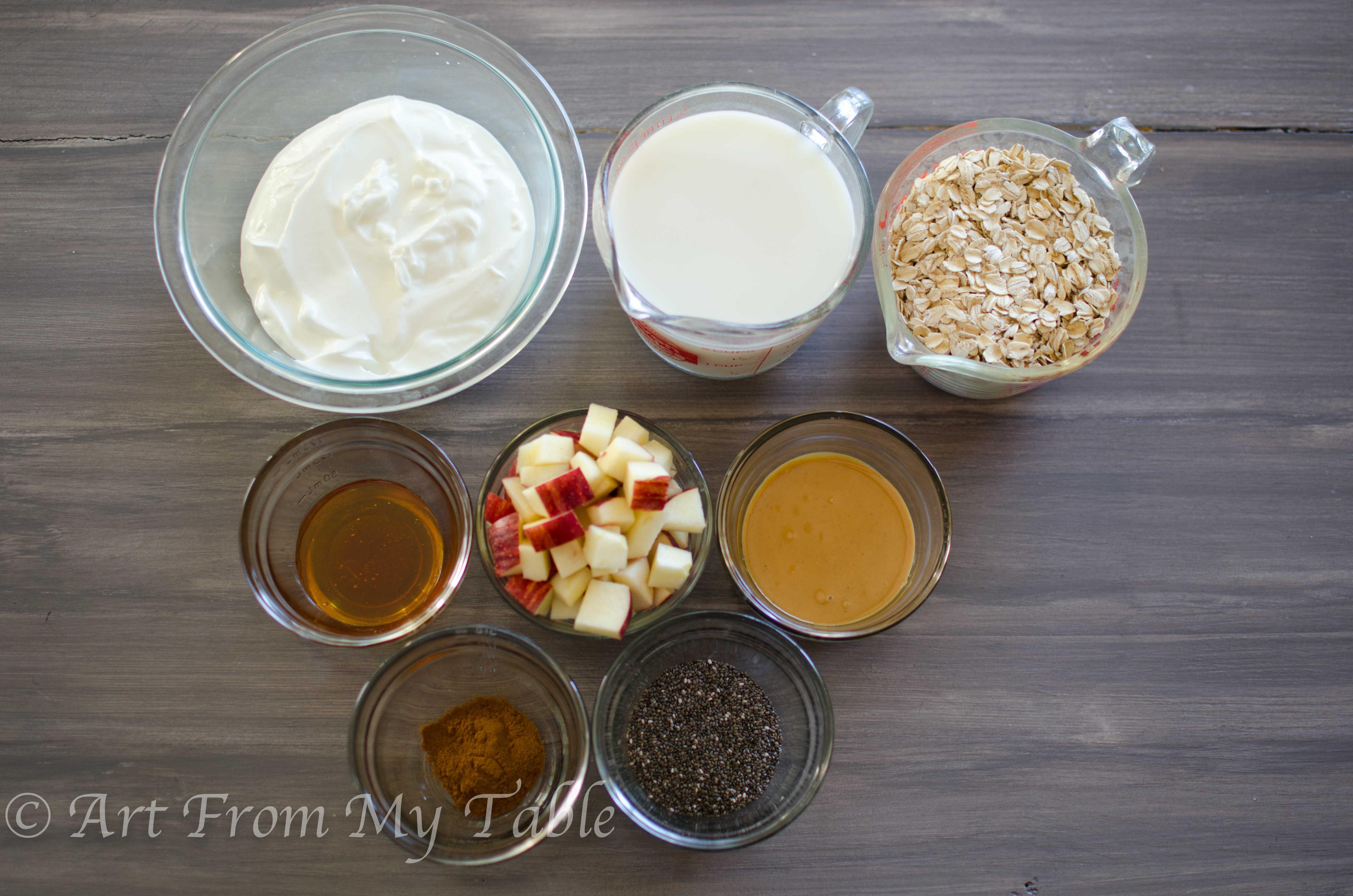 Ingredients for Overnight oats: Yogurt, milk, oats, honey, peanut butter, chia seeds, apples, cinnamon.