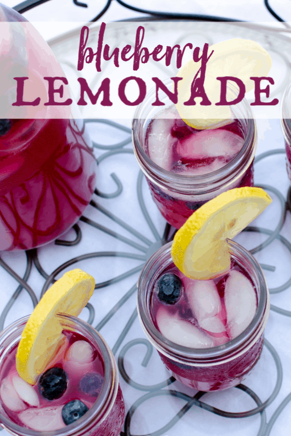Nothing says summer like fresh squeezed lemonade. Try this blueberry version today! It's perfectly tart with just the right amount of sweet. Once you try homemade, you'll never go back to canned! This is just one more way to enjoy those fresh picked summer blueberries. #artfrommytable #lemonade #bluberries via @artfrommytable