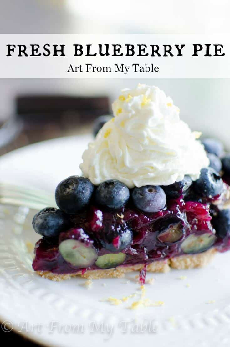 Wondering what to do with all those blueberries? Make this!! This fresh blueberry pie is extraordinary with it's graham cracker crust and lemon whipped cream. A perfect treat for blueberry season! #blueberries #summer #summerdessert #dessert #lemon #homemade #fromscratch  via @artfrommytable