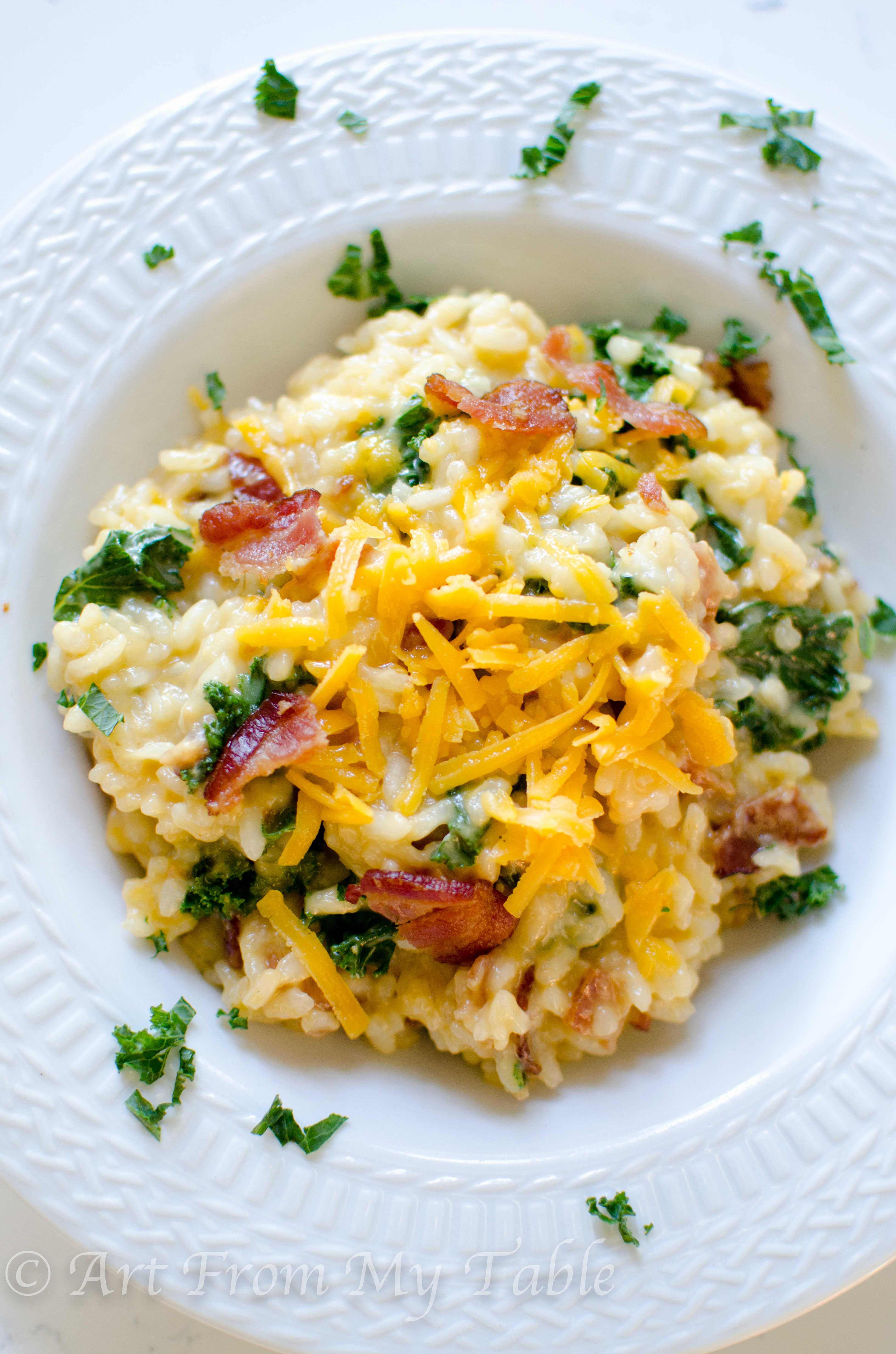 Risotto with cheddar, bacon, and greens - Art From My Table