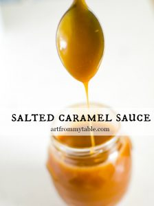 spoon dripping with homemade salted caramel sauce