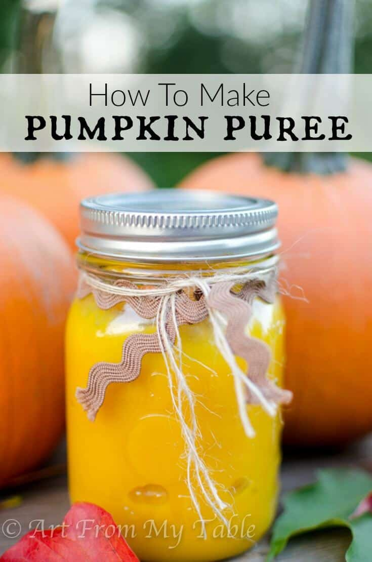 How to make Pumpkin Puree. It's easier than you think! It's healthier, fresher and oh so delicious. Grab yourself some pumpkins and make this today. It keeps great in the freezer! Always be ready to whip up a batch of pumpkin muffins, a pie, bread... you name it! #artfrommytable #pumpkin #pumpkinpuree #howtomakepumpkinpuree #easypumpkinpuree #homemadepumpkinpuree #freezerfriendly #pumpkinpureerecipe #fallfavorites #fallfood