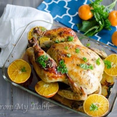 Easy Roasted Chicken with Orange Glaze