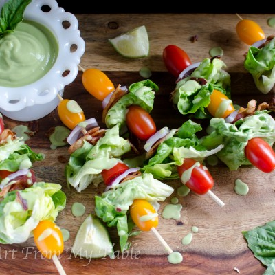 BLT Salad on a Stick with homemade avocado dressing