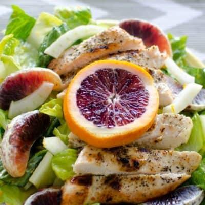 Fennel orange salad with grilled chicken