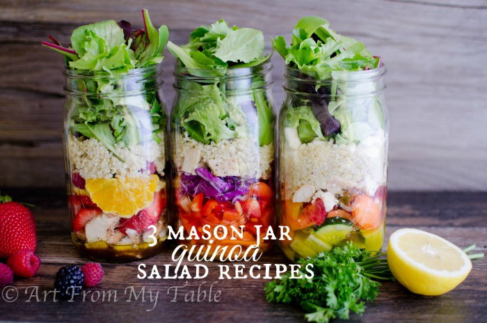 3 types of salads in mason jars with  quinoa. Spring mix with fruit, Asian, and Greek style.