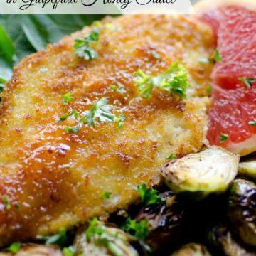 panko chicken with grapefruit honey sauce