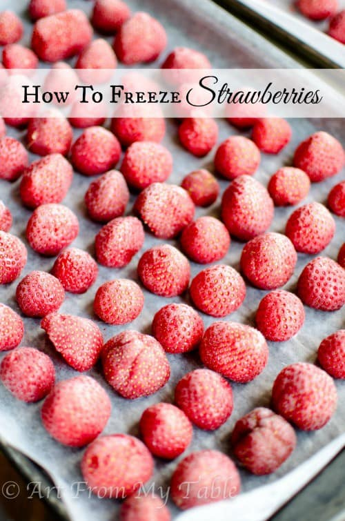 tray of frozen strawberries