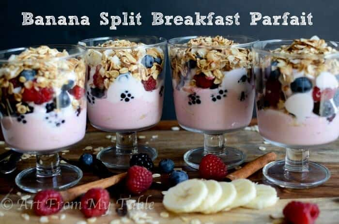 banana split breakfast parfait