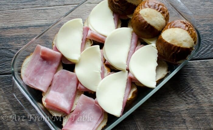 Baked ham and cheese soft pretzel sliders