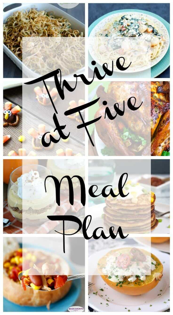 thrive at five weekly meal plan