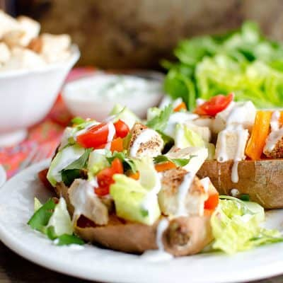 skinny chicken stuffed sweet potatoes