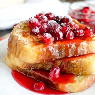 eggnog french toast with cranberry syrup