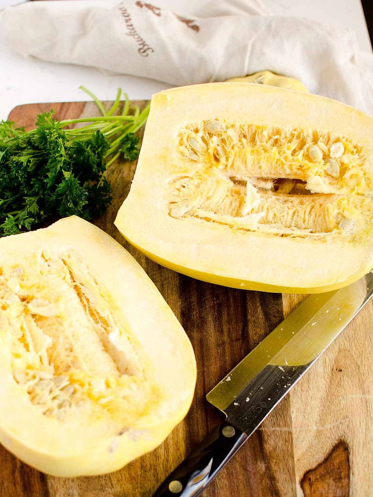 loaded spaghetti squash casserole boats