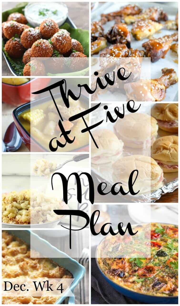 Thrive at five weekly meal plan December week 4