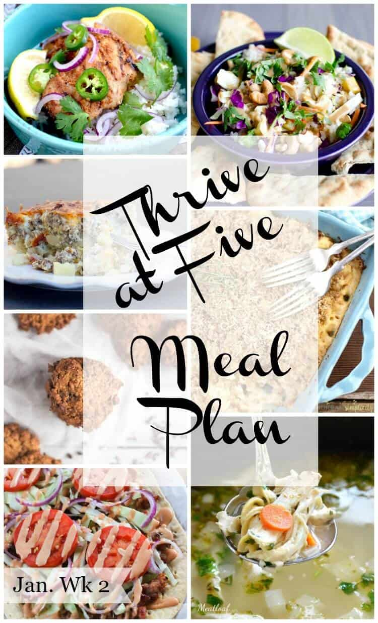 Thrive at five weekly meal plan January week 2