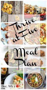 thrive at five weekly meal plan December week 1