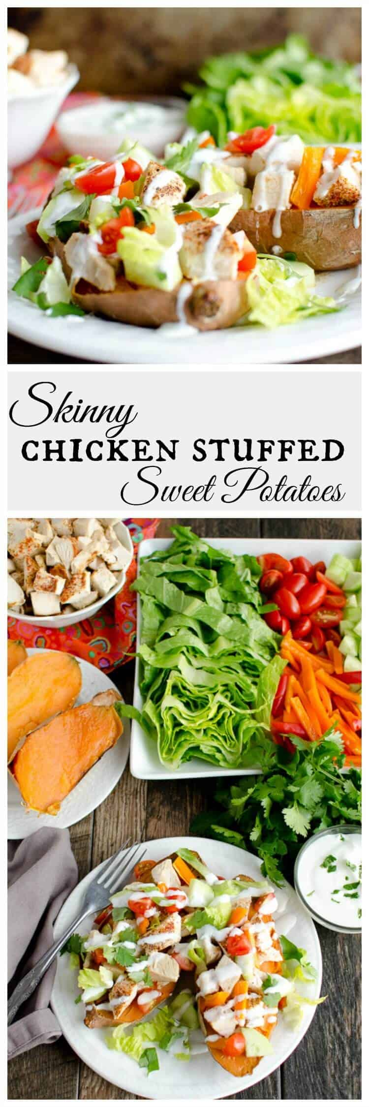 These healthy and light chicken stuffed sweet potatoes will leave you feeling energized and satisfied. Seasoned chicken, healthy veggies and crunchy lettuce, you can't go wrong. #sweetpotato #easydinner  via @artfrommytable