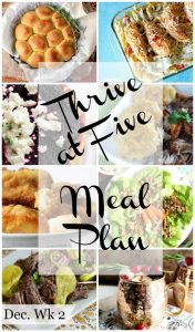 thrive at five weekly meal plan dec. wk 2