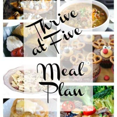 Thrive at Five Weekly Meal Plan December Week 3