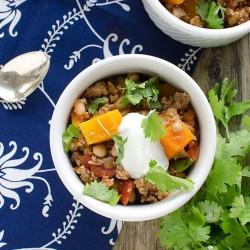 Instant Pot turkey chili with butternut squash