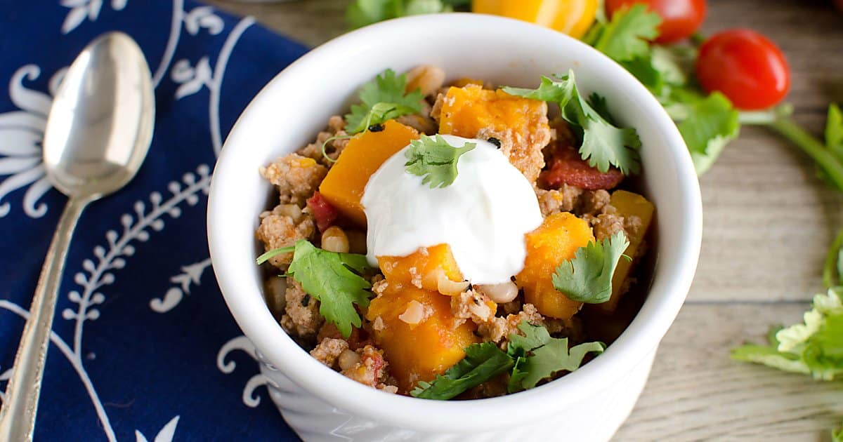 Instant Pot turkey chili with butternut squash