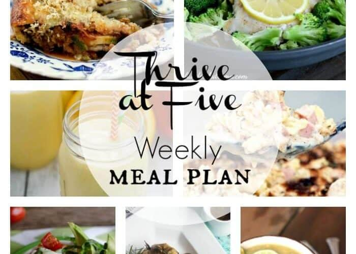 Thrive at Five Weekly Meal Plan February Week 1