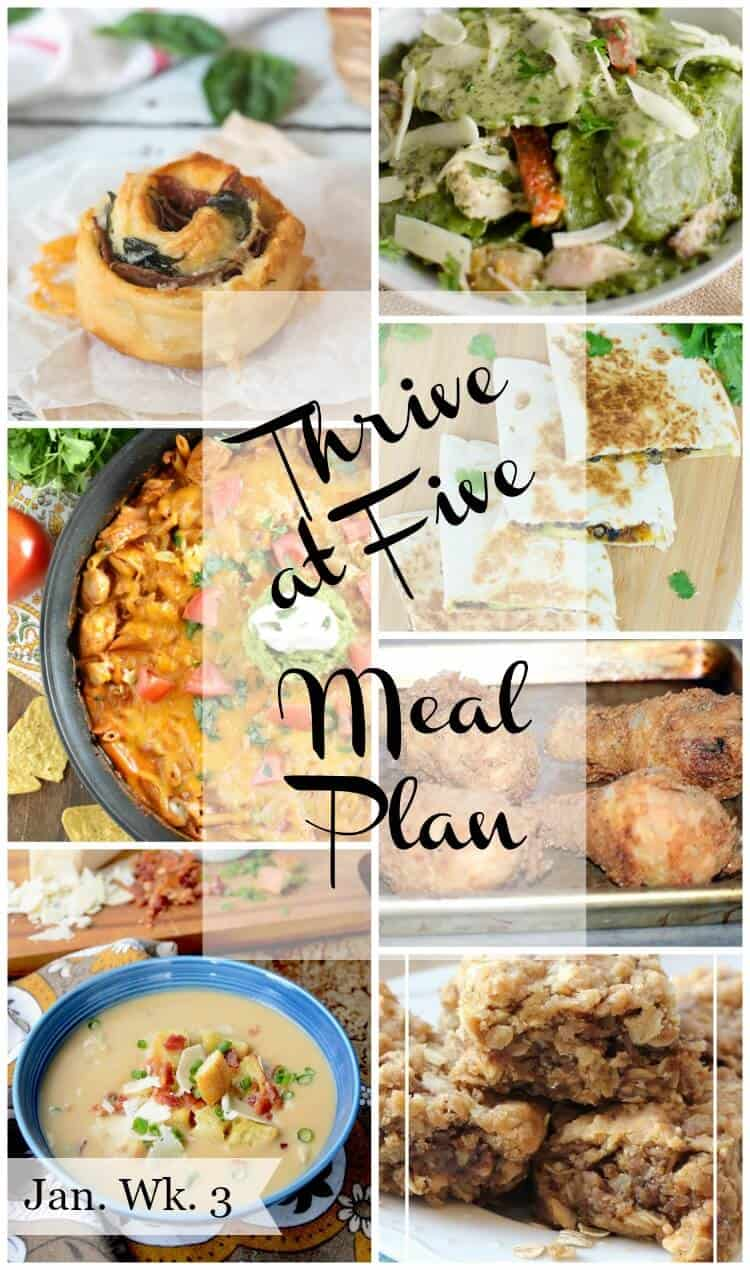 Thrive at five weekly meal plan January week 3