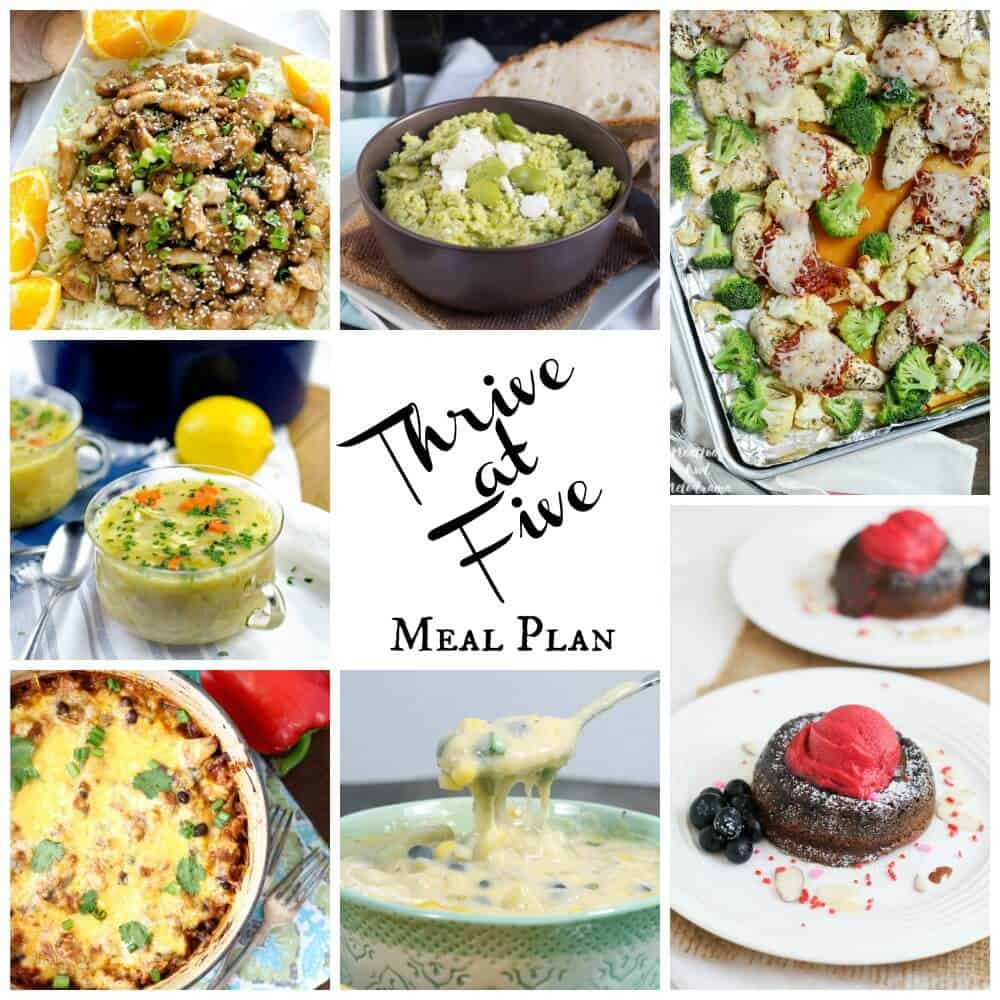 Thrive at five weekly meal plan February