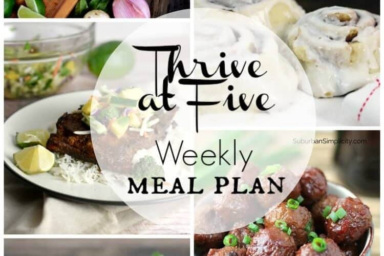 Thrive at Five Meal Plan March Week 1