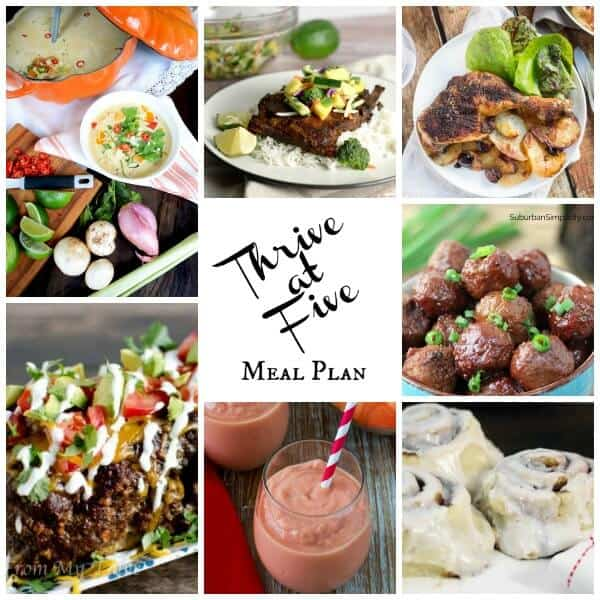 Thrive at five weekly meal plan March Week 1