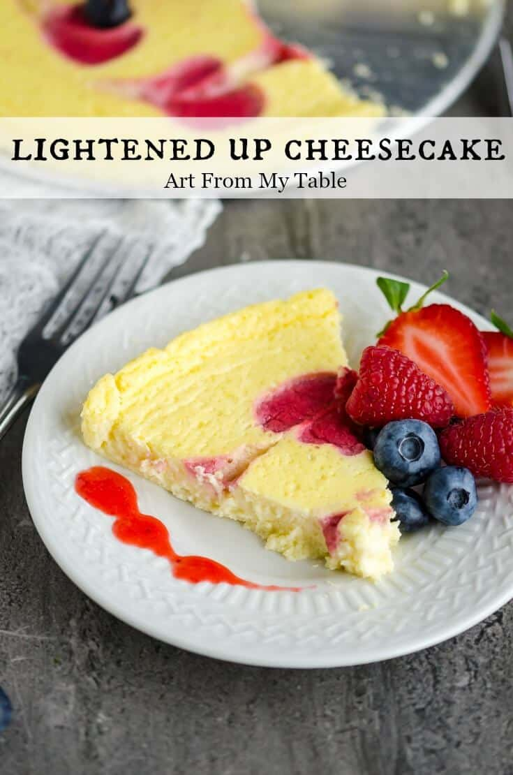 Craving cheesecake? Try this lightened up version. Your taste buds will never know this has less calories! This Lightened Up Cheesecake is creamy, decadent, and and refined sugar free! Fresh berries compliment it perfectly. #cheesecake #betterforyou #lightdessert #dessert #berries #summer via @artfrommytable