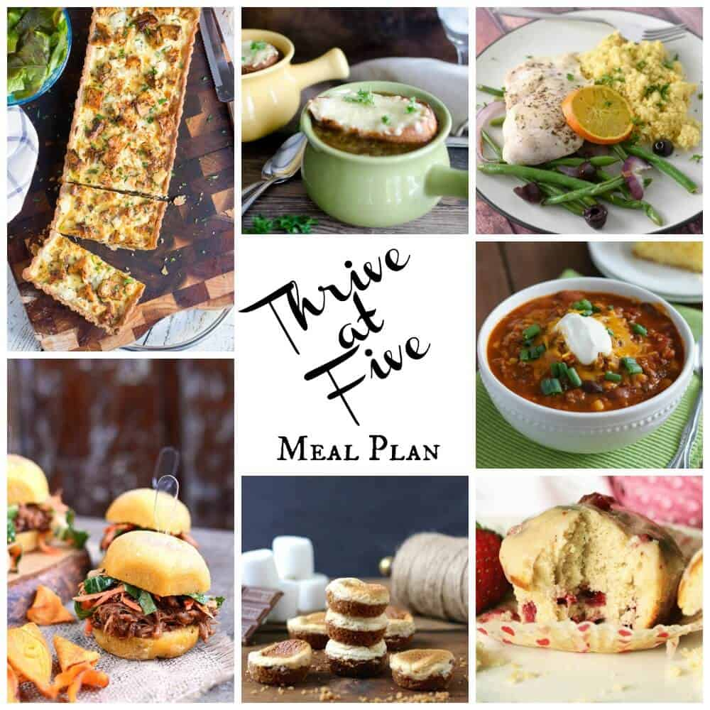 Thrive at five weekly meal plan March Week 2