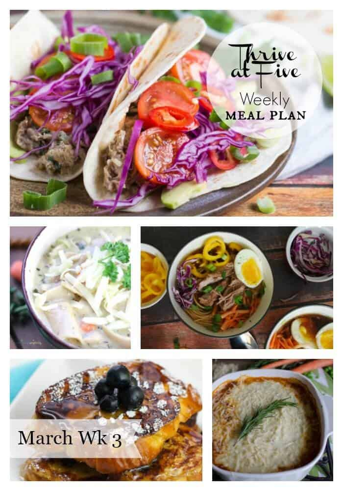 Thrive at five weekly meal plan March Week 3