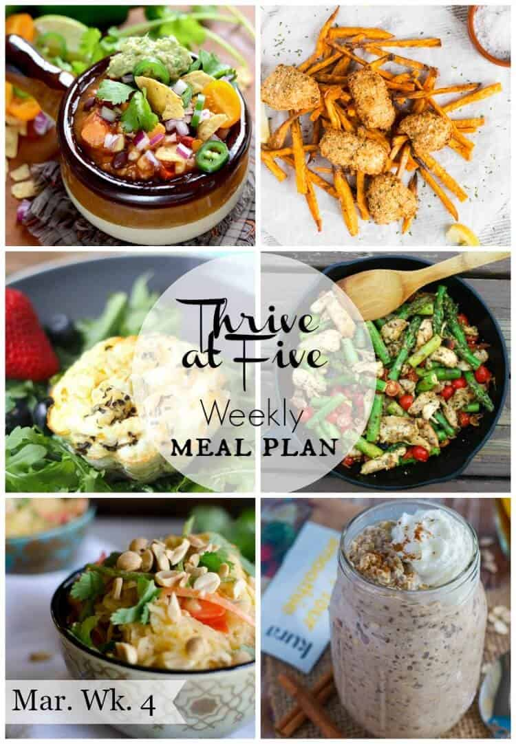 Thrive at five weekly meal plan March Week 4