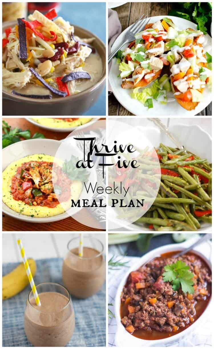 Thrive at five weekly meal plan April week 1
