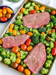 Sheet Pan Steak and Veggies with Boursin Cheese Sauce