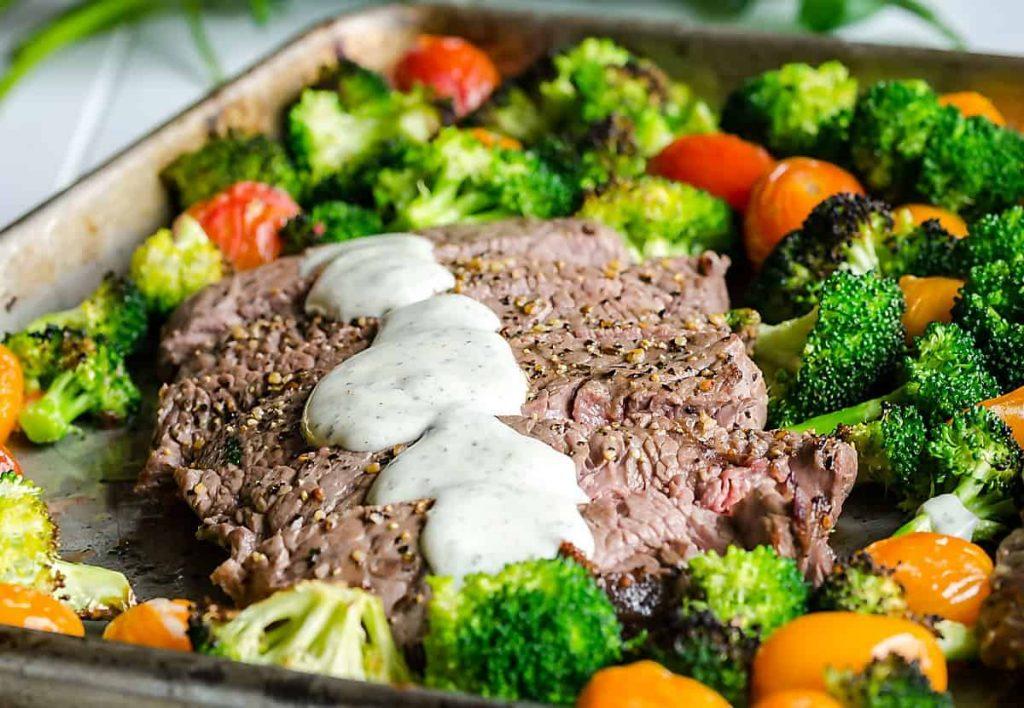 Sheet Pan Steak and Veggies with Boursin Cheese Sauce