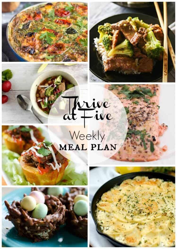 Thrive at five weekly meal plan April week 2