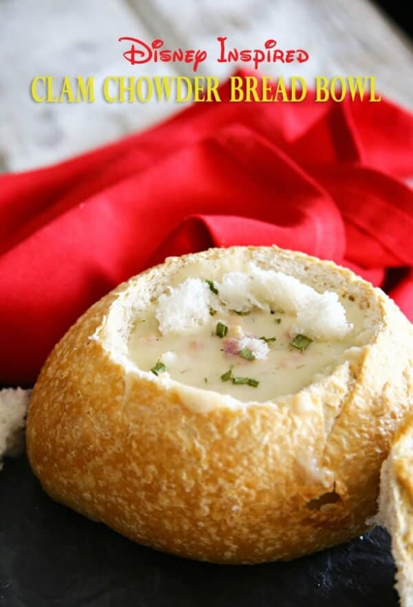 disney inspired clam chowder in a bread bowl easy meal