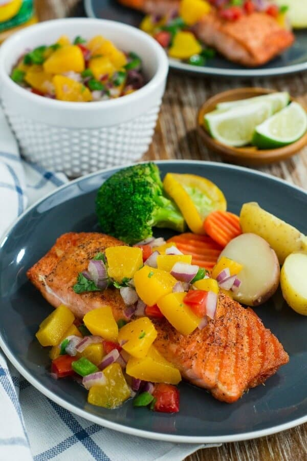 Pan seared salmon with peach salsa meal plan may week 5