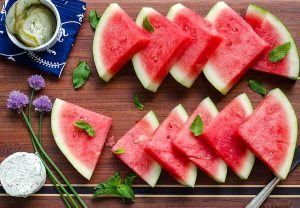 Watermelon Board Appetizer {sea salt, mint syrup, basil chive cheese}