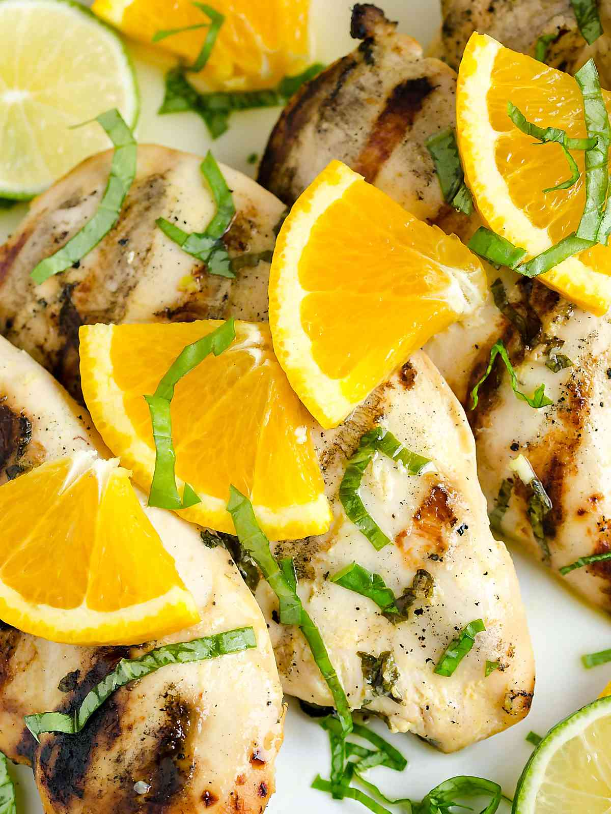citrus basil grilled chicken with fresh oranges