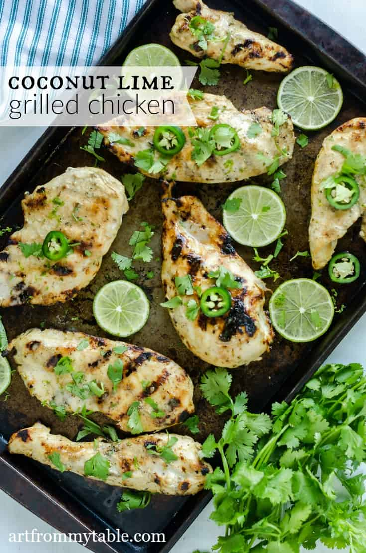 Looking for healthy grilled chicken recipes? You've come to the right place! This Coconut Lime Chicken Recipe is tender, juicy, and packed with flavors of coconut, lime and a hint of curry. It's grilled to perfection for the perfect easy summer meal. #grilling #chicken #coconut #lime #easyrecipe #healthy via @artfrommytable
