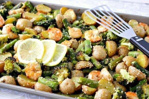 sheet pan shrimp and veggies meal plan July week 1